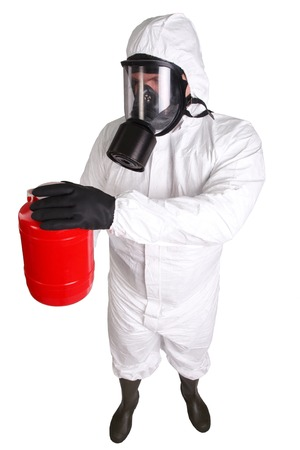 radiation protection suit: Man in a suit of chemical protection isolated on white