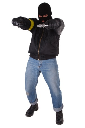 gunman: gunman with handgun isolated on white background