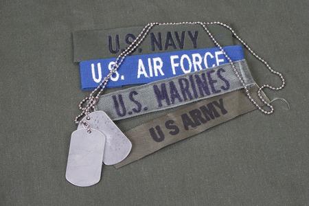 in uniform: Concepto militar estadounidense sobre fondo verde oliva uniforme