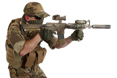 contractor: Private Military Contractor with carbine M4 isolated on white