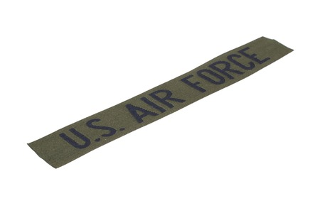 us air force: KIEV, UKRAINE - Mar. 29, 2015. Illustrative editorial. US AIR FORCE branch tape uniform badge isolated on white background