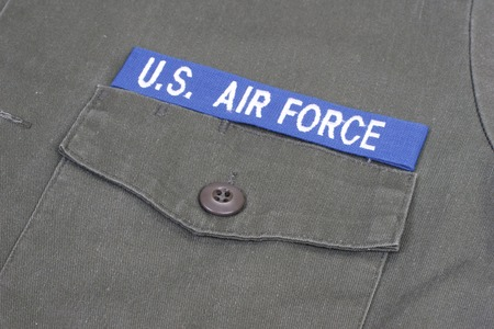 us air force: KIEV, UKRAINE - Mar. 29, 2015. Illustrative editorial. US AIR FORCE uniform vietnam war period background