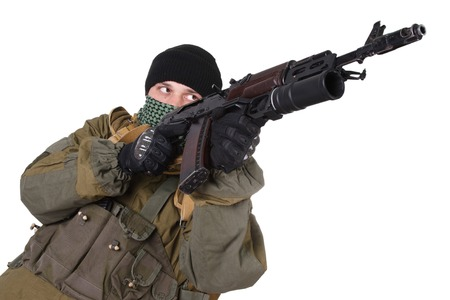 shemagh: insurgent wearing shemagh with kalashnikov rifle isolated on white background
