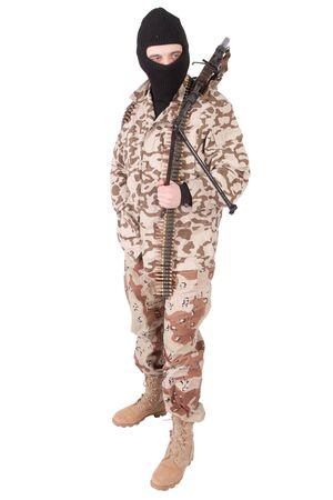 mercenary: mercenary with RPD gun isolated on white background