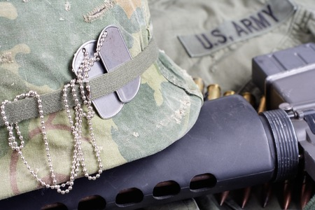 m16 ammo: US Army in Vietnam - Vietnam war period concept background Stock Photo