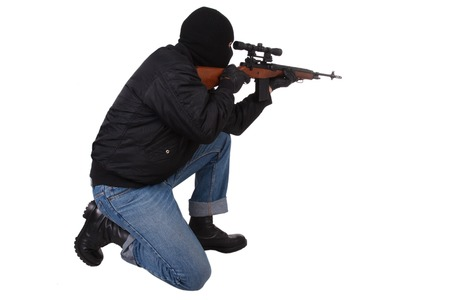 gunman: gunman with sniper rifle isolated on white background