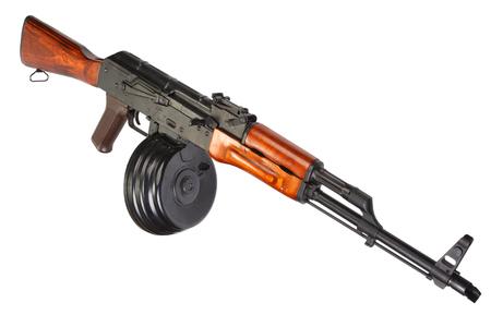 akm: AKM Kalashnikov assault rifle with 75 Round Drum Magazine isolated