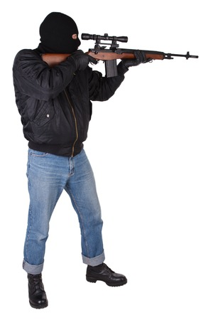 gunman with sniper rifle isolated on white background