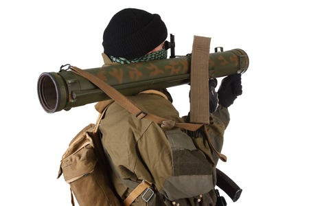 rpg: insurgent wearing shemagh with RPG rocket launcher isolated on white Stock Photo