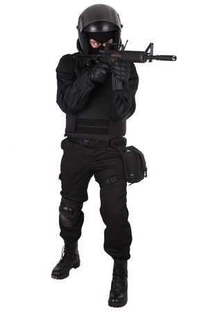 swat teams: SWAT officer in black uniform isolated on white