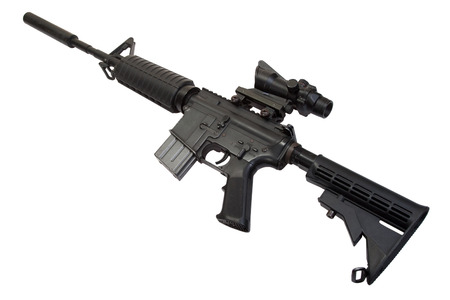 carbine: US Army M4 Carbine isolated on a white background