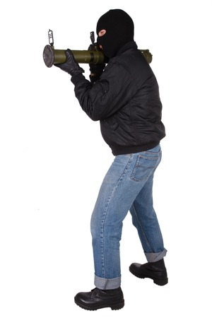 gunman: gunman with bazooka grenade launcher isolated on white background