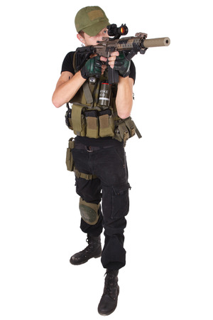 rifleman: rifleman with M4 carbine isolated on white Stock Photo