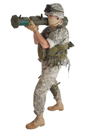 rifleman: US ARMY soldier with AT rocket launcher isolated on white
