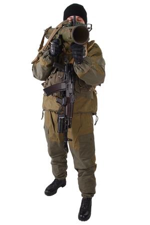 ak 74: terrorist with kalashnikov rifle with under-barrel grenade launcher isolated on white background