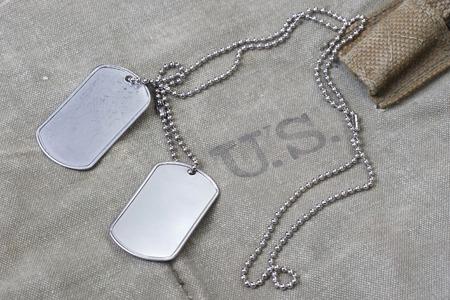 us army uniform with blank dog tags background Standard-Bild
