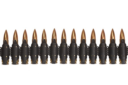 full jacket bullet: ammunition belt on white background Stock Photo
