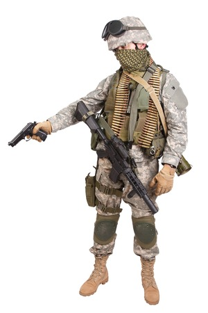 infantryman: US soldier with handgun on white background Stock Photo