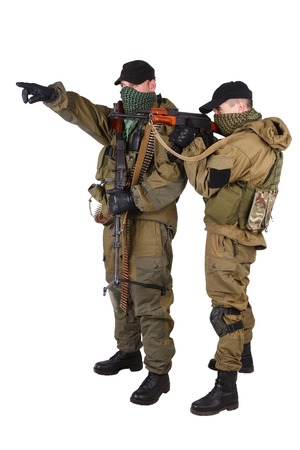 insurgents: insurgents with AK 47 and RPD machine gun isolated on white background Stock Photo