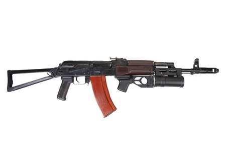 ak 74: AK 74  with GP-25 grenade launcher isolated on white
