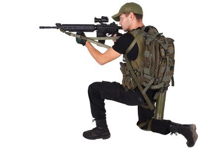 m16: mercenary with m16 rifle isolated on white Stock Photo
