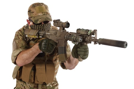 violent: Private Military Contractor with carbine M4 isolated on white