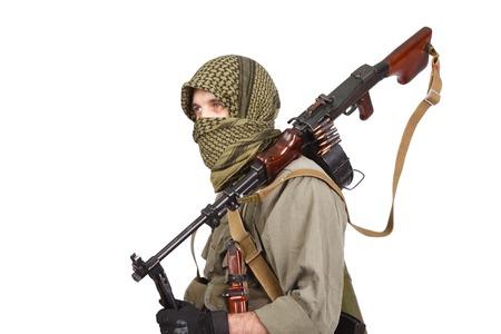 gunner: shooter with machine gun isolated