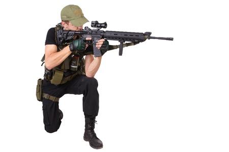 mercenary: mercenary with m16 rifle isolated on white Stock Photo