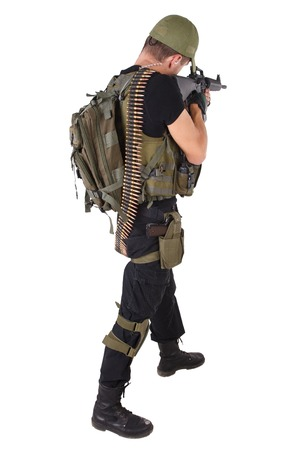 rifleman: rifleman with m16 rifle isolated on white Stock Photo