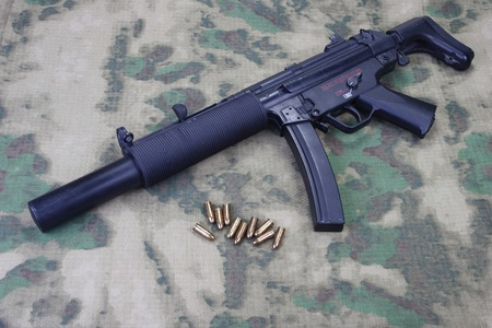 silencer: submachine gun MP5 with silencer isolated Stock Photo
