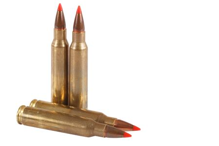 full jacket bullet: 5.56 45mm intermediate cartridge isolated on white