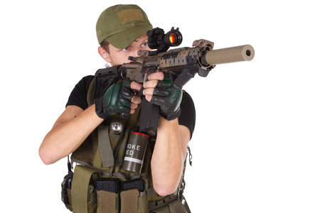 aiming: rifleman with M4 carbine isolated on white Stock Photo