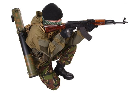 ak47: fighter with ak-47 rifle with rifle isolated on white background