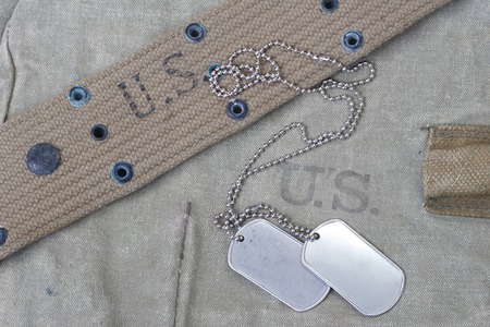 us army uniform with blank dog tags background Archivio Fotografico