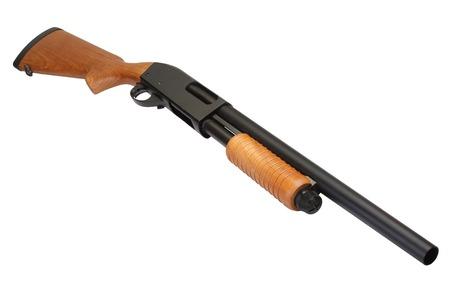 pump action shotgun isolated on white