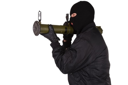 bazooka: terrorist with bazooka grenade launcher isolated on white background Stock Photo