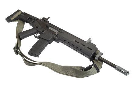 assault rifle: Modern assault rifle isolated Stock Photo