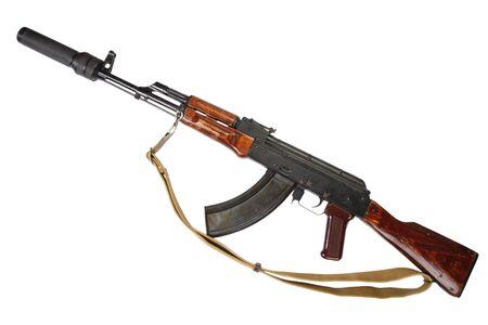 the silencer: Kalashnikov with silencer isolated on white Stock Photo