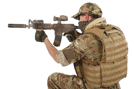 infantryman: Private Military Contractor with carbine M4 isolated on white