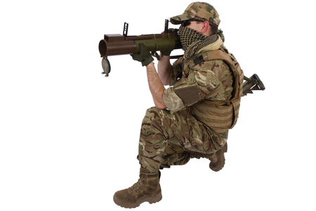 rifleman: Private Military Contractor with RPG rocket launcher isolated on white