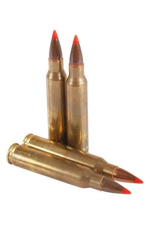 m16 ammo: 5.56 45mm intermediate cartridge isolated on white
