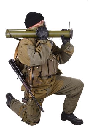 mercenary: mercenary with bazooka gun isolated on white