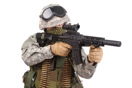 acu: US soldier with rifle on white background Stock Photo