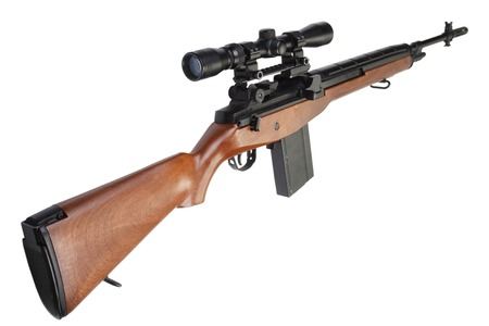 sniper: sniper rifle M14 isolated on white background Stock Photo