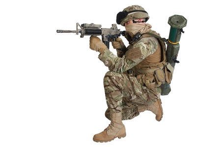 infantryman: soldier with assault rifle on white background