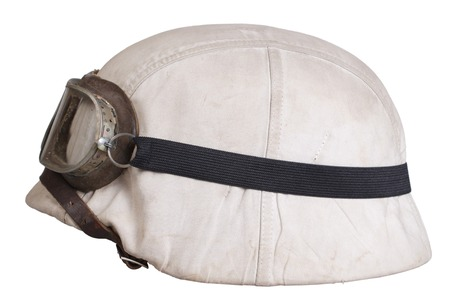 protective goggles: camouflaged nazi german helmet with protective goggles Stock Photo