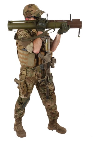 rpg: Private Military Contractor with RPG rocket launcher isolated on white