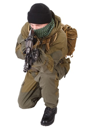 keffiyeh: fighter with ak-47 rifle with kalashnikov rifle isolated on white background