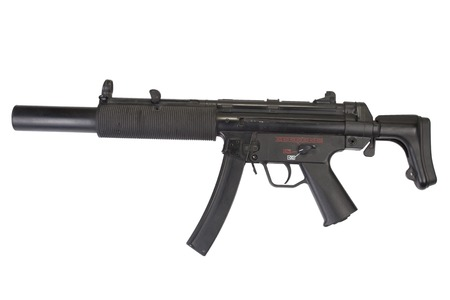 swat teams: submachine gun MP5 with silencer isolated Stock Photo