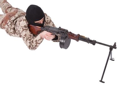 gunner: mercenary with RPD gun isolated on white background